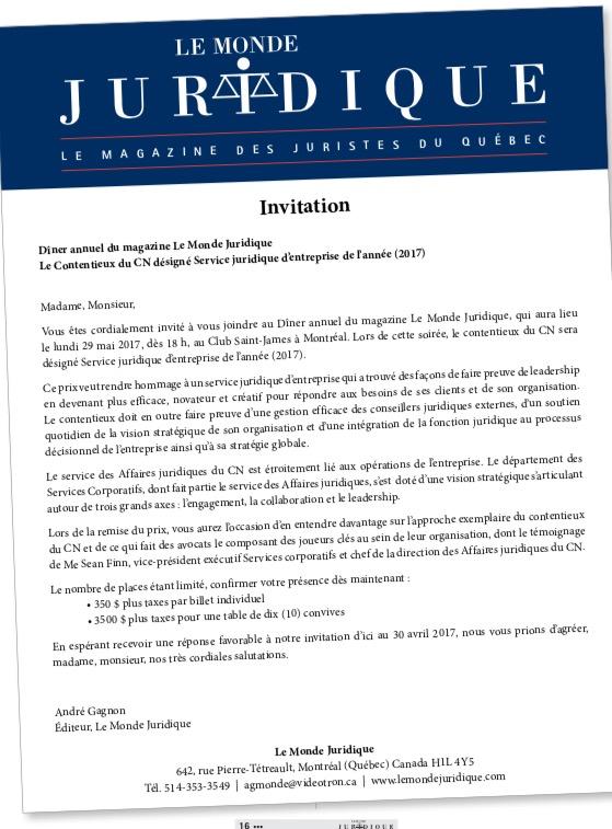 Le Contentieux du CN désigné Service juridique d'entreprise de l'année (2017)