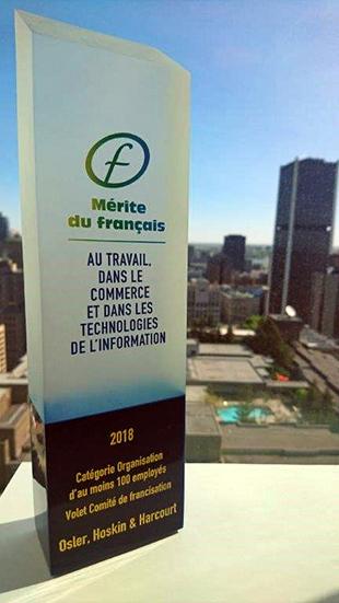 Osler receives Mérite du français award