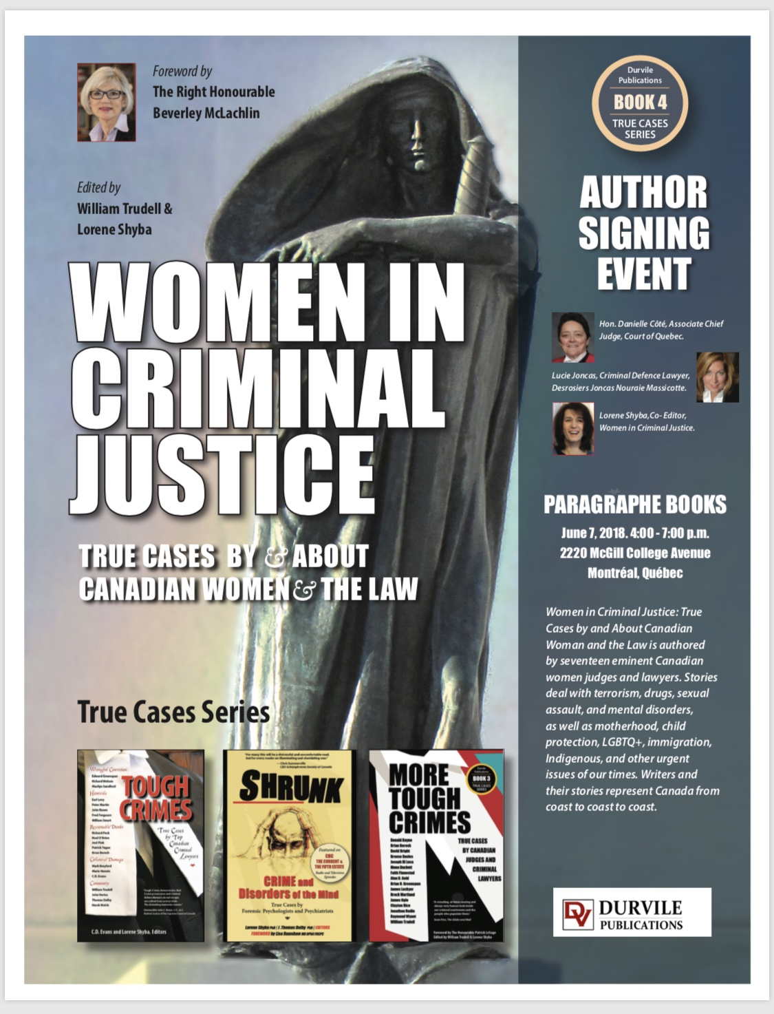 Lancement du livre Women in Criminal Justice  7 juin 2018 Montreal