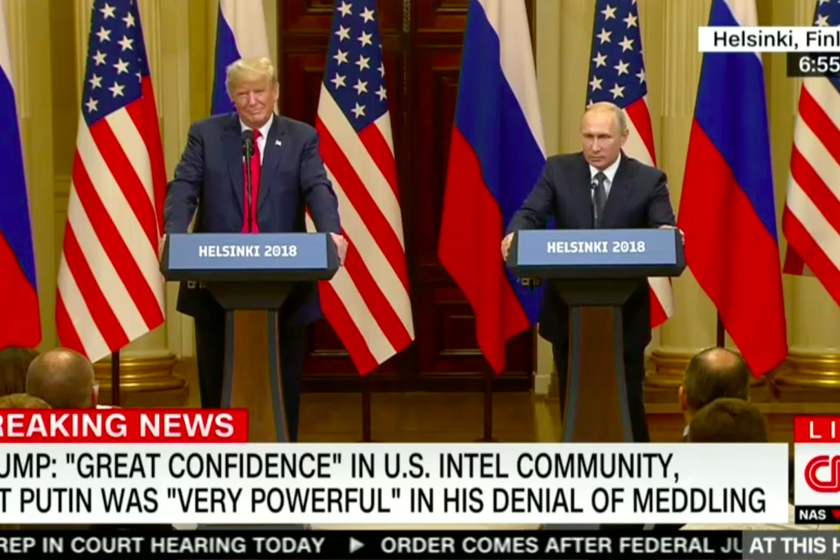 Standing next to Putin, Trump slammed US intelligence agencies, Democrats, and the Mueller investigation.