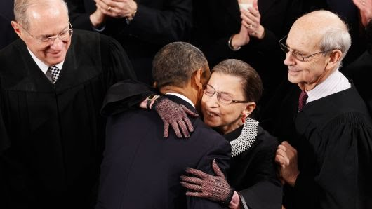 Supreme Court Justice Ruth Bader Ginsburg returns to the court for the first time since her cancer surgery in December