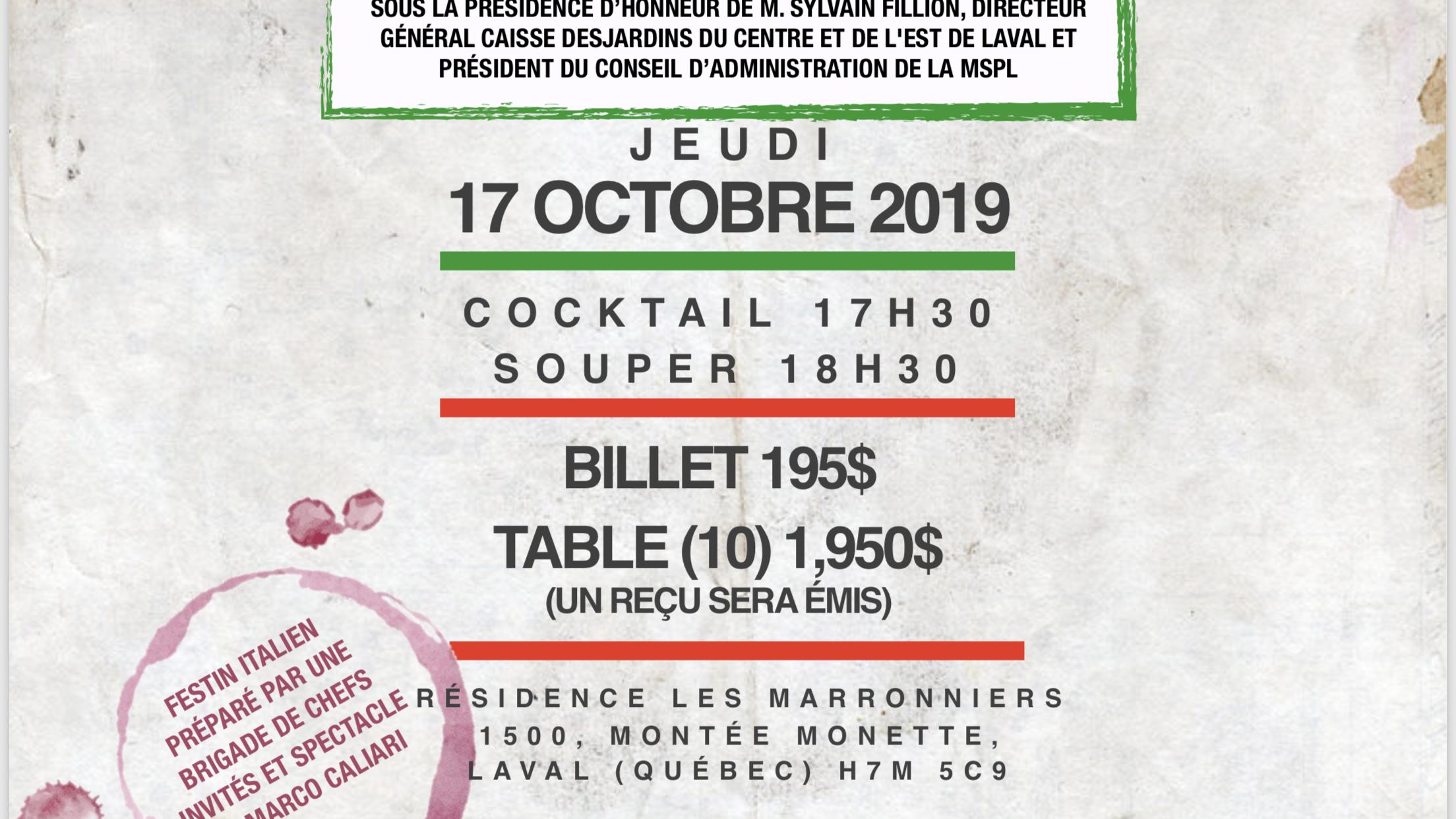 INVITATION SOIRÉE ITALIENNE Au profit de la Fondation Pain et Espoir