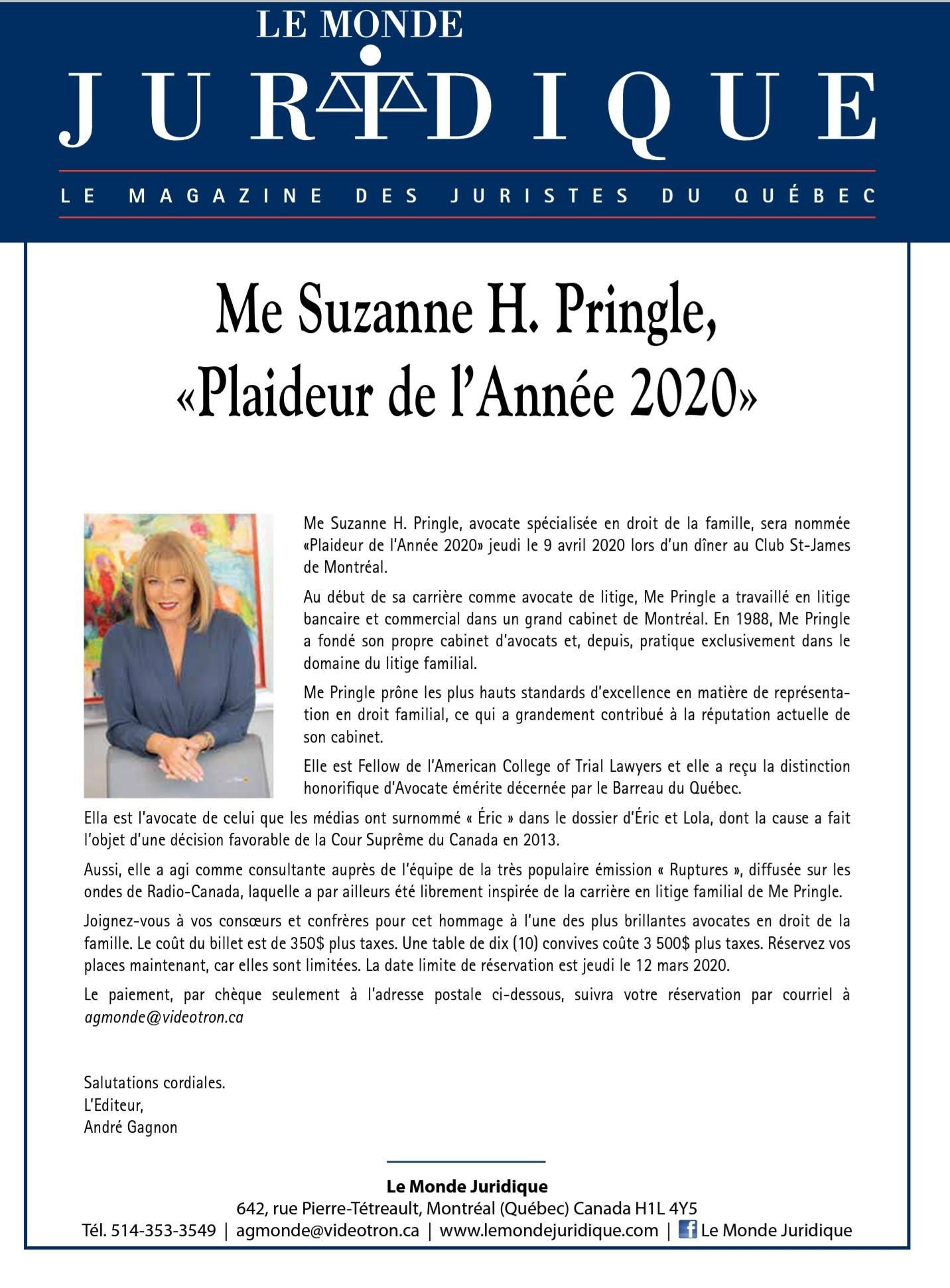 Me Suzanne H. Pringle, «Plaideur de l'Année 2020»